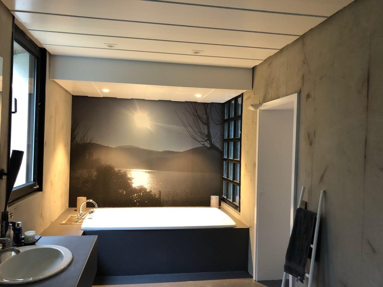 Fugenloses Badezimmer mit einer Fototapete - Farbwechsel Bocholt